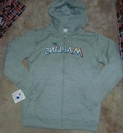 NEW MLB Miami Marlins Full Zip Hoodie Hooded Sweatshirt Yout