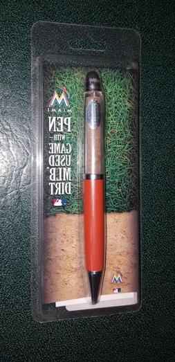 NEW Miami Marlins  PEN WITH GAME USED DIRT STEINER
