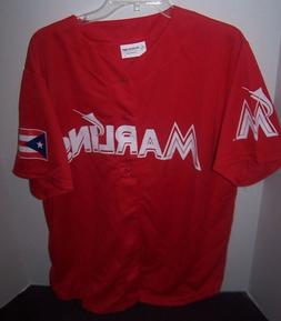 NEW Miami Marlins Puerto Rico Jersey Night Size L Large Red