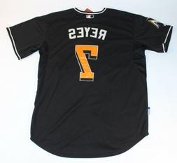 NWT Jose Reyes Miami Marlins Black Majestic Cool Base MLB Ba