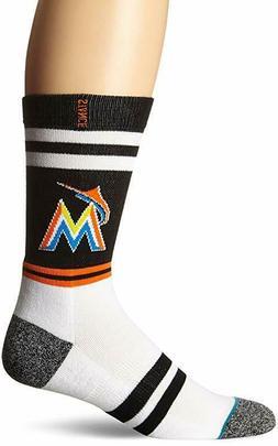 NWT M 6-8.5 STANCE Miami Marlins Socks Crew Height Striped M