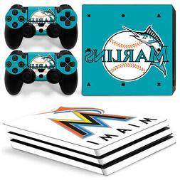 Playstation 4 pro Miami Marlins MBL team logo baseball skin