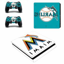 PS4 SLIM - Miami Marlins - Vinyl Skin Set + 2 Controller Ski