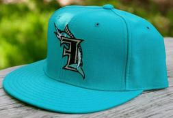 RETRO THROWBACK SIZE 6 5/8 MIAMI Marlins Fitted CHILD TEAL M