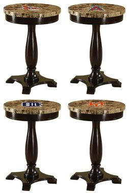 ROUND END TABLE NIGHT STAND MLB TEAM LOGO CAPPUCCINO ESPRESS