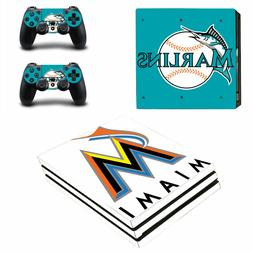 SONY PS4 PRO - Miami Marlins - Vinyl Skin Set + 2 Controller