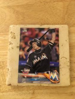 Stone Baseball Card Coaster - Ichiro Miami Marlins 2018 Topp