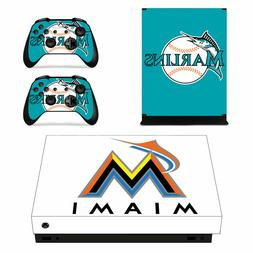 XBOX ONE X - Miami Marlins - Vinyl Protector Skin + 2 Contro